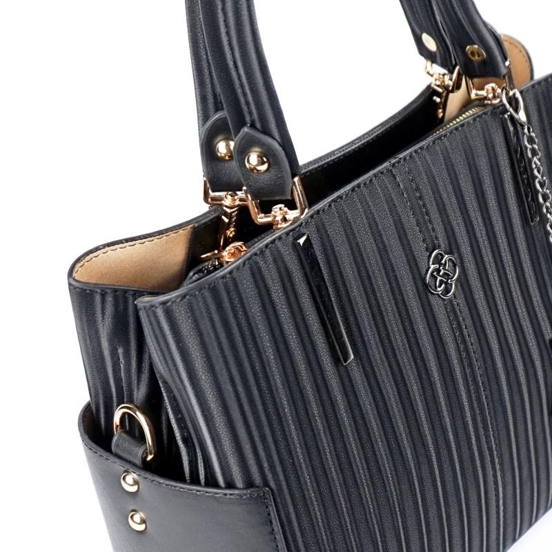 Ежедневна дамска чанта еко кожа в черен цвят