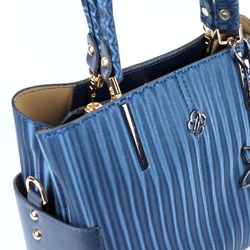 Ежедневна дамска чанта еко кожа в тъмно син цвят
