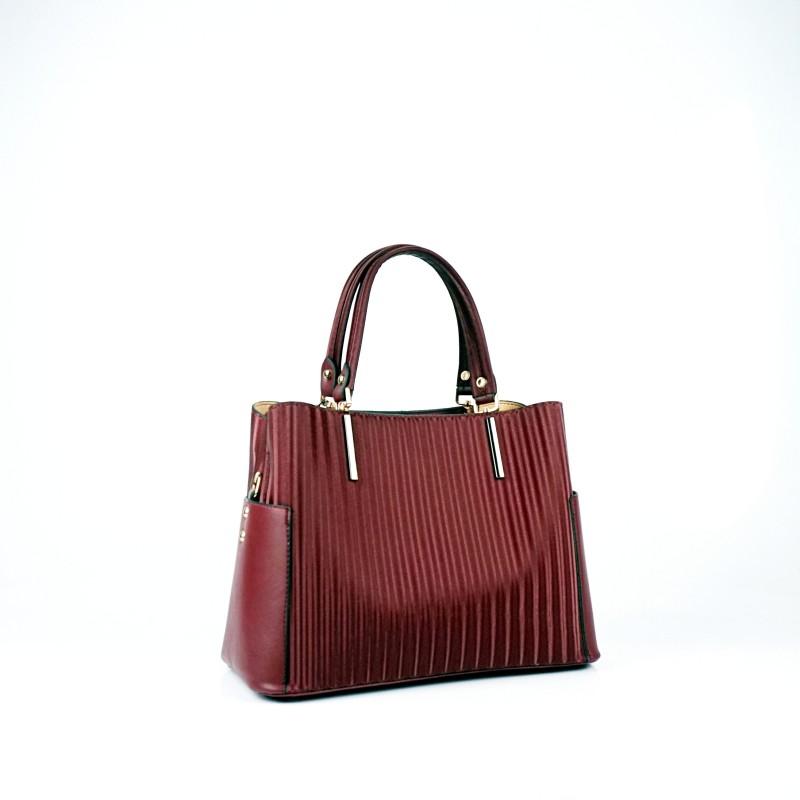Еженевна дамска чанта еко кожа в цвят бордо