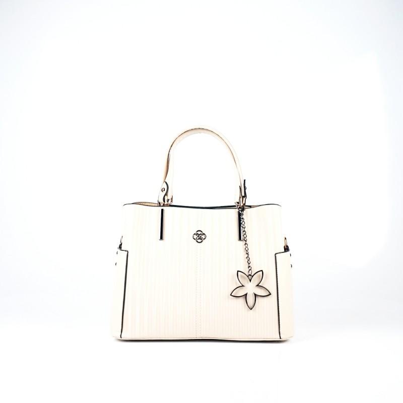Ежедневна дамска чанта еко кожа в бежов цвят