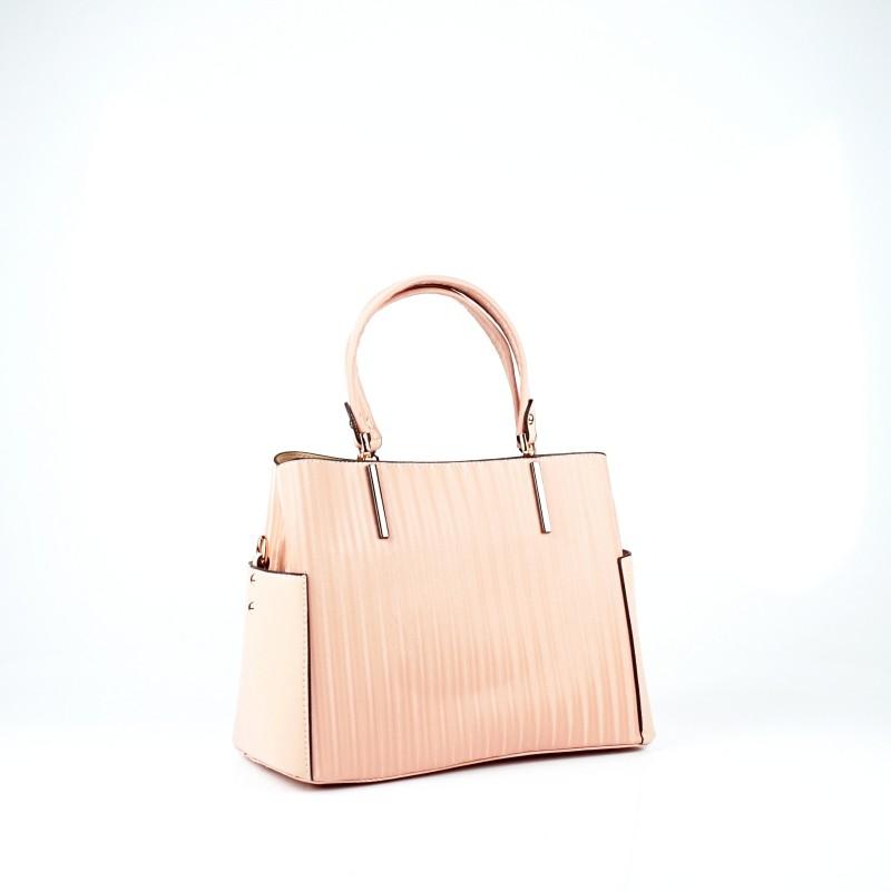 Ежедневна дамска чанта еко кожа в цвят пудра
