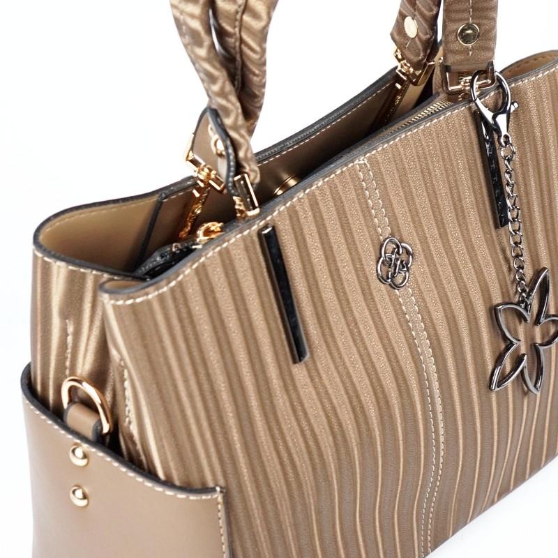 Еженевна дамска чанта еко кожа в цвят каки