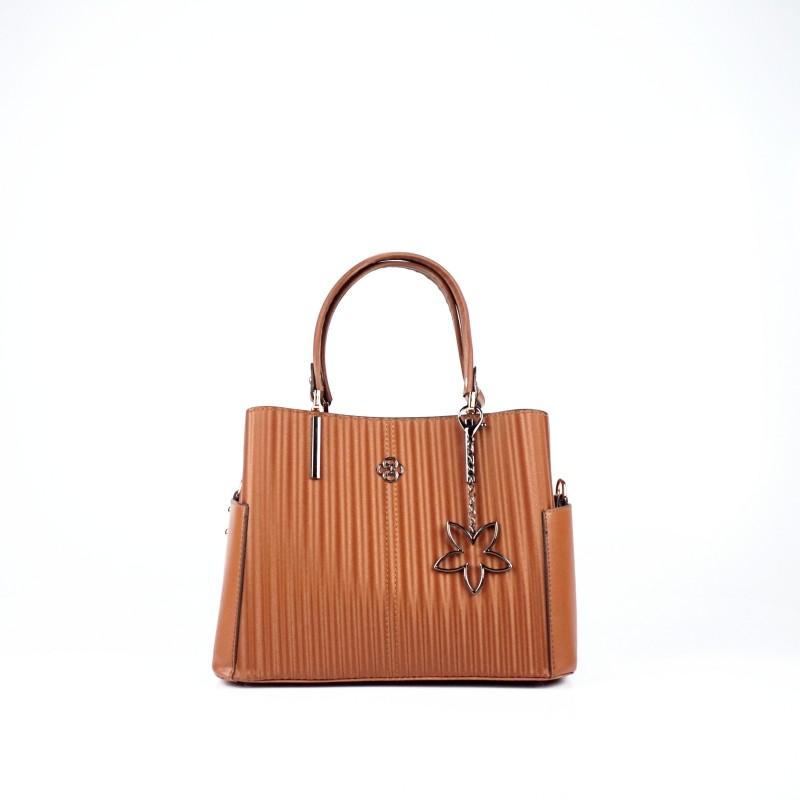 Ежедневна дамска чанта еко кожа в светло кафяв цвят
