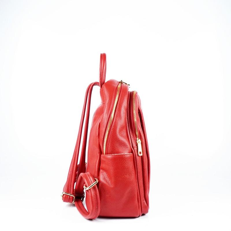 Дамска раница от естествена кожа в червен цвят