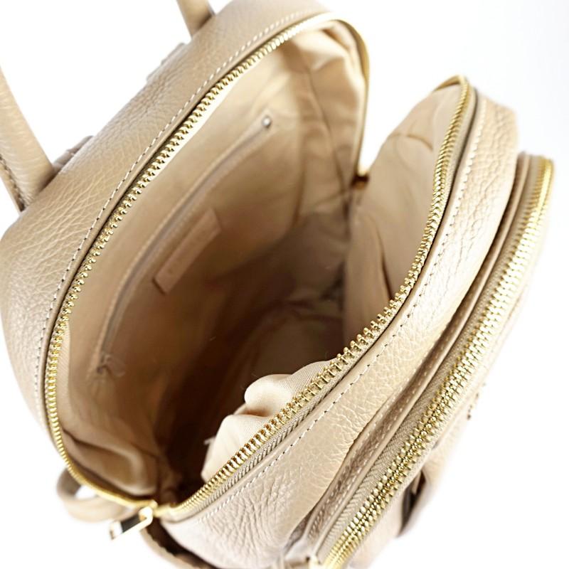 Дамска раница естествена кожа в цвят капучино