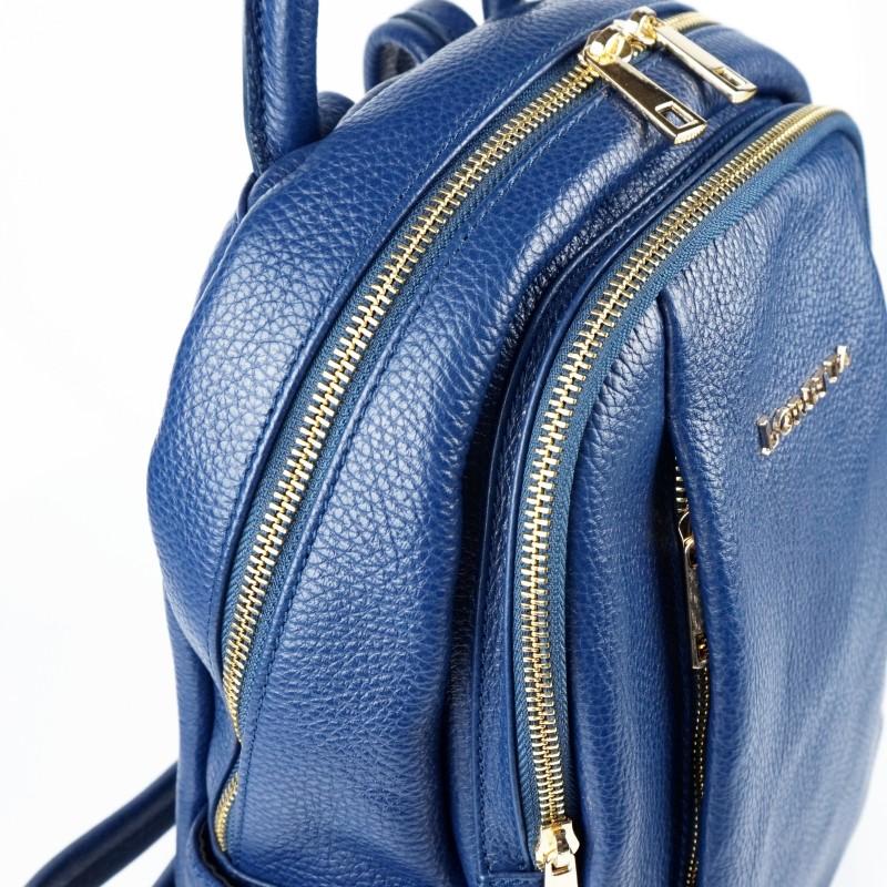 Дамска раница естествена кожа в тъмно син цвят