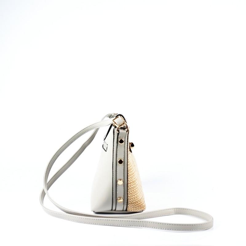 Малка дамска чанта през рамо с плетена лицева част