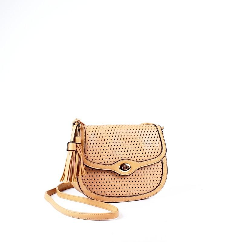 Малка дамска чанта през рамо в бежов цвят