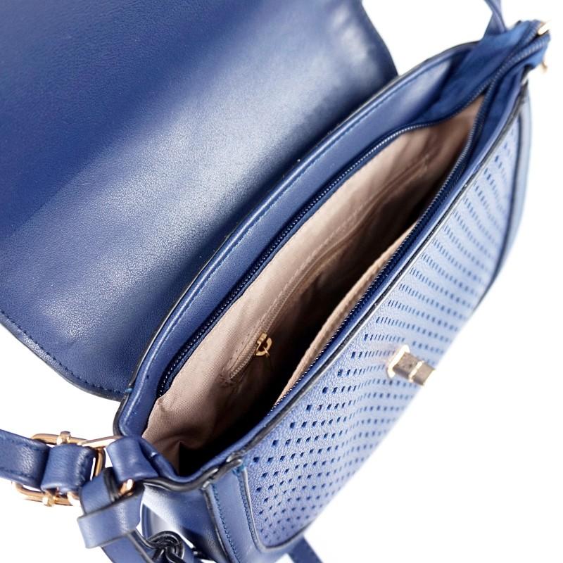 Малка дамска чанта през рамо в тъмно син цвят