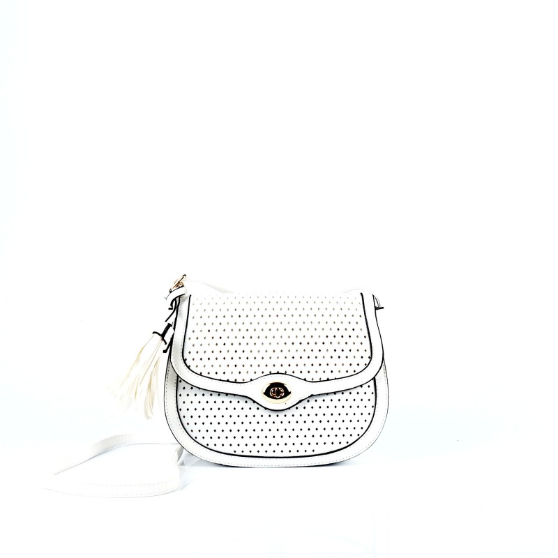 Малка дамска чанта през рамо в бял цвят