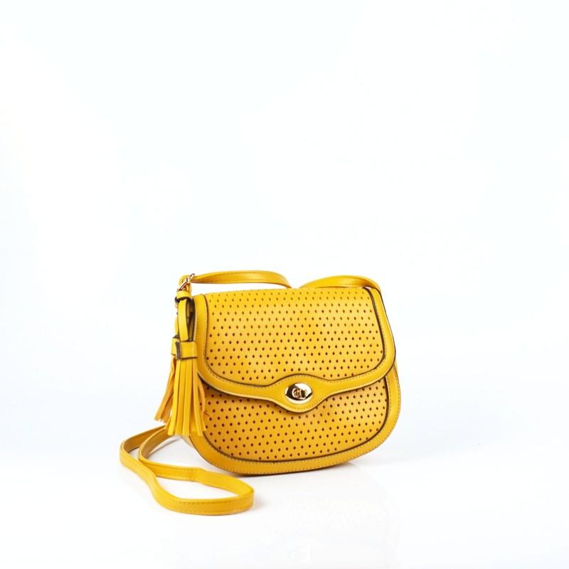 Малка дамска чанта през рамо в цвят горчица