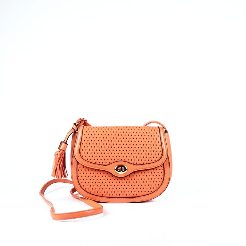 Малка дамска чанта през рамо в коралов цвят