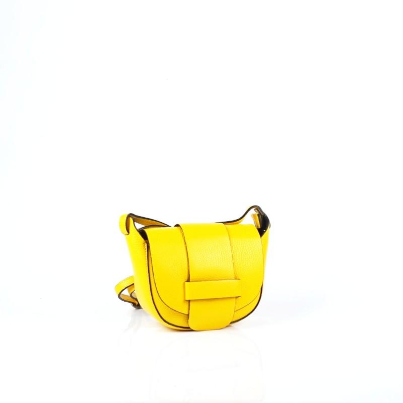 Малка дамска чанта от естествена кожа в жълто