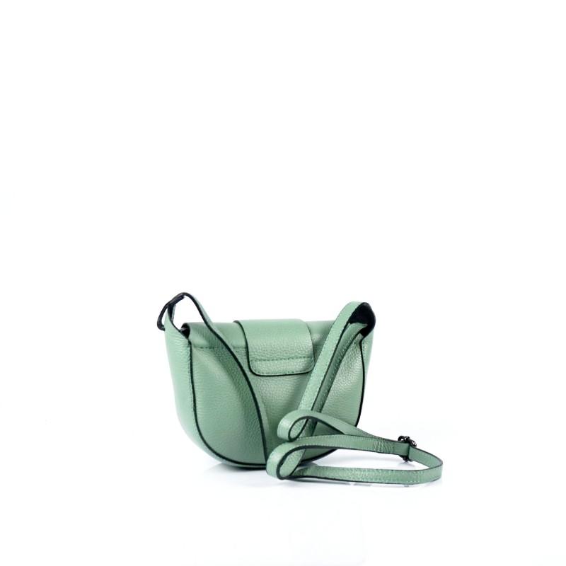 Малка дамска чанта от естествена кожа в зелено