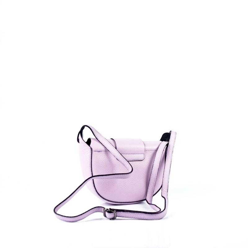 Малка дамска чанта от естествена кожа в светло лилаво