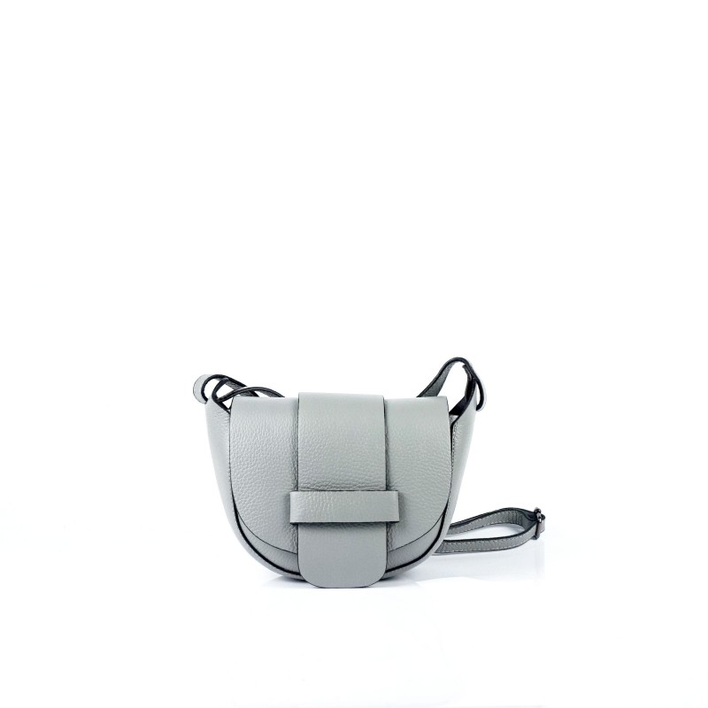 Малка дамска чанта от естествена кожа в сиво