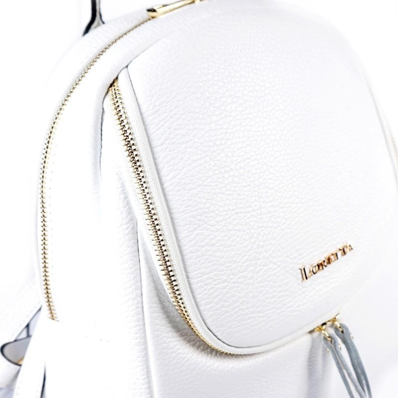 Бяла дамска раница от естествена кожа