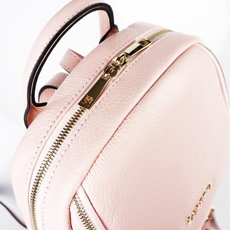 Дамска раница от естествена кожа в цвят розова пудра