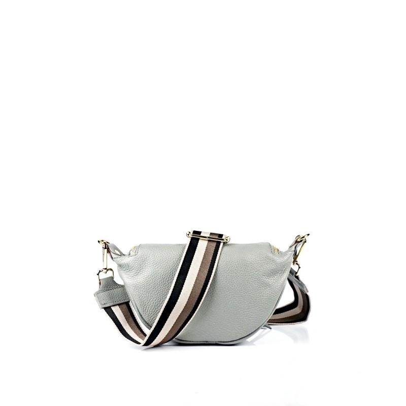 Малка дамска чанта през рамо в сив цвят