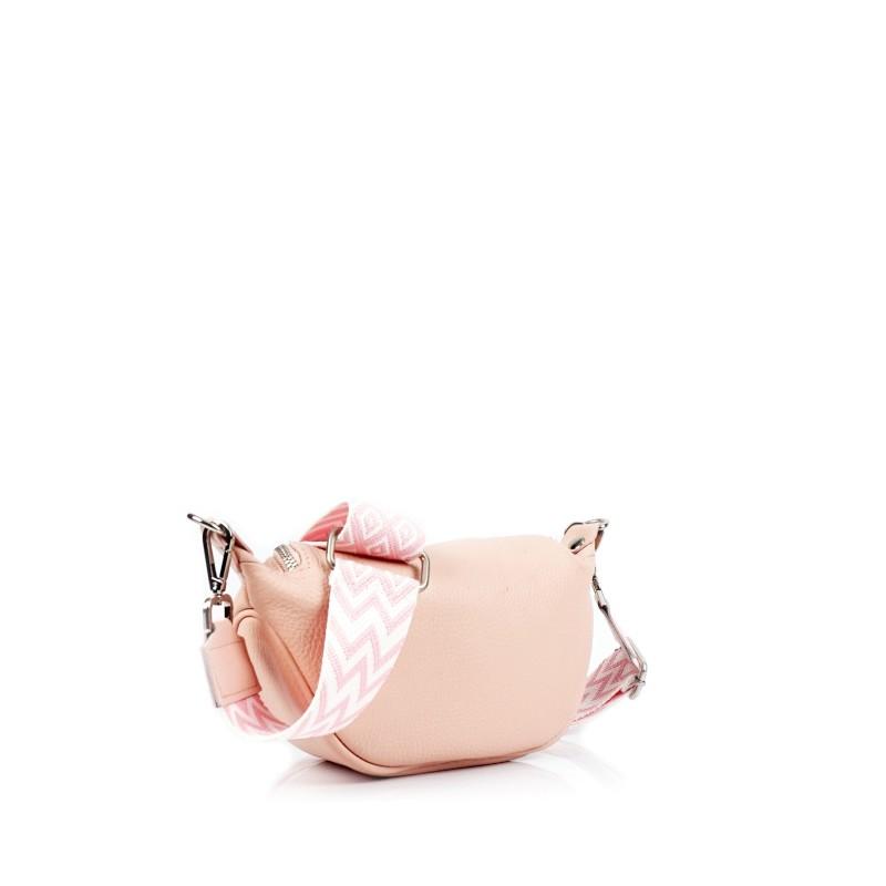 Малка дамска чанта през рамо в цвят розова пудра