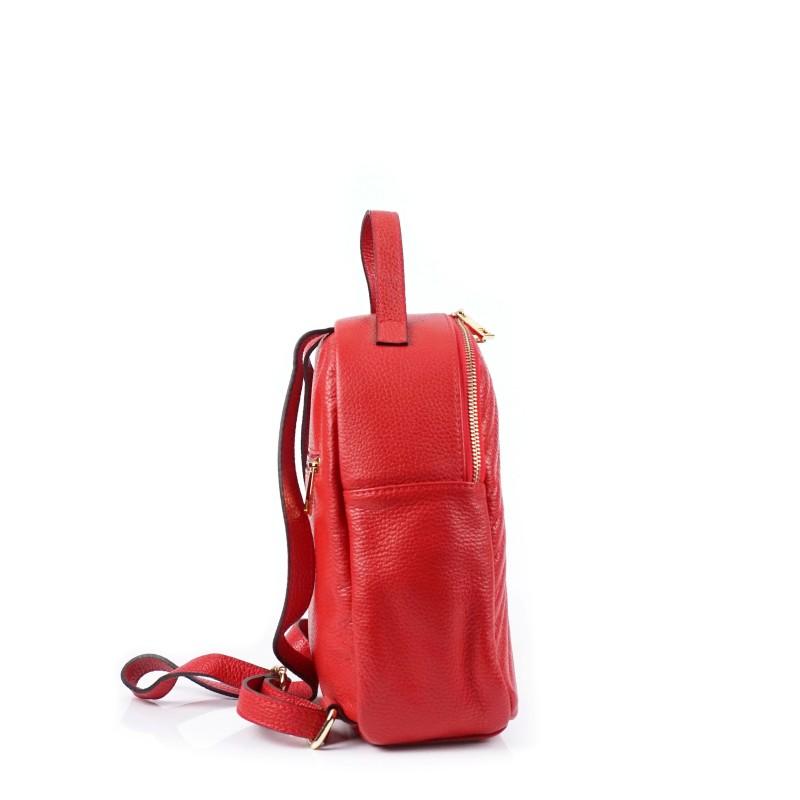 Червена дамска раница от естествена кожа с капитониран ефект