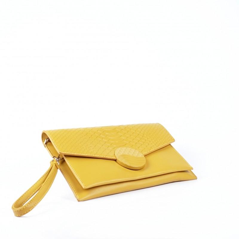 Дамска чанта тип плик в цвят горчица