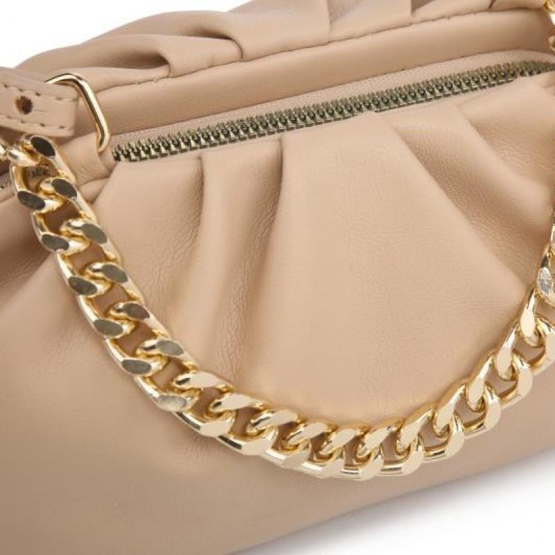 Мини дамска чанта през рамо в цвят капучино
