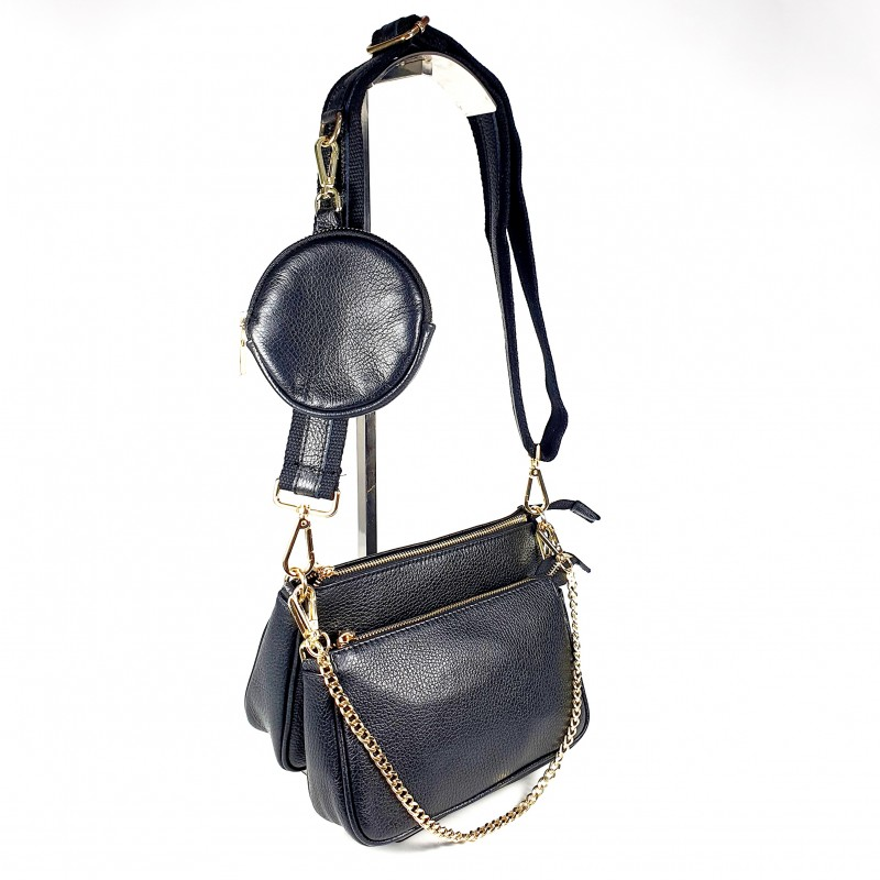 Комплект дамски чанти през рамо в черно