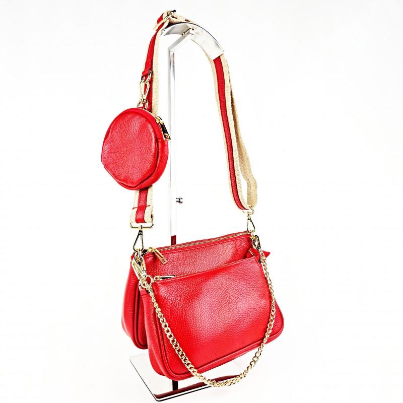 Комплект дамски чанти през рамо в червено