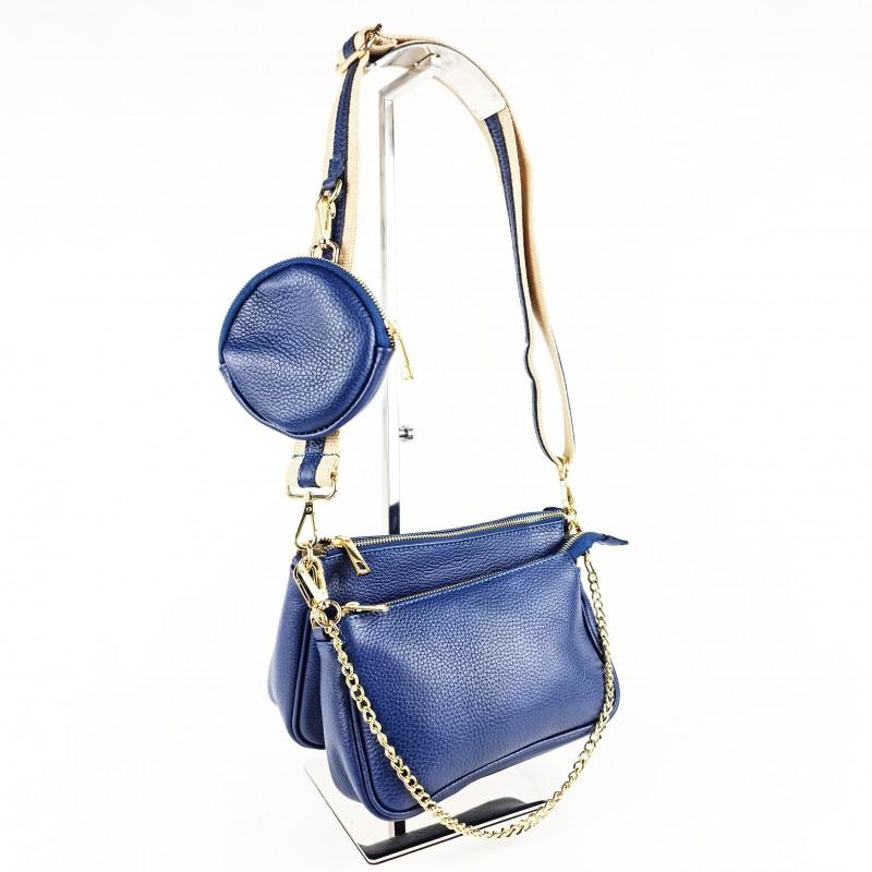 Комплект дамски чанти през рамо в тъмно син цвят