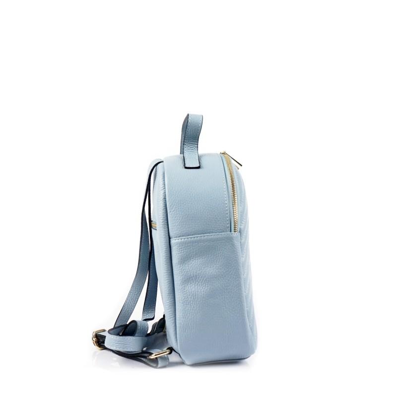 Светло синя дамска раница от естествена кожа