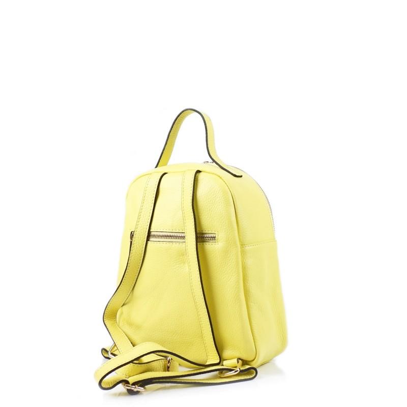 Жълта дамска раница от естествена кожа с капитониран ефект