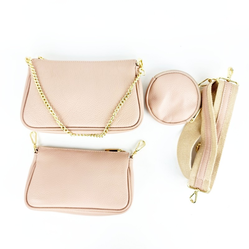 Комплект дамски чанти през рамо в розова пудра