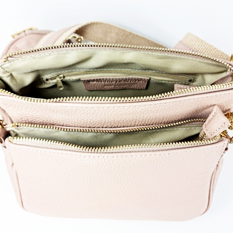 Комплект дамски чанти през рамо в цвят капучино