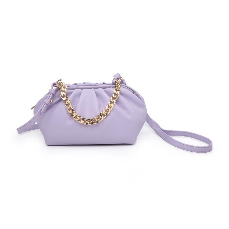 Мини дамска чанта през рамо в лилав цвят