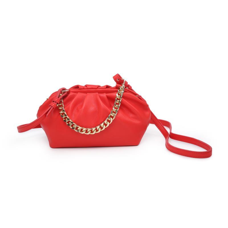 Мини дамска чанта през рамо в червено