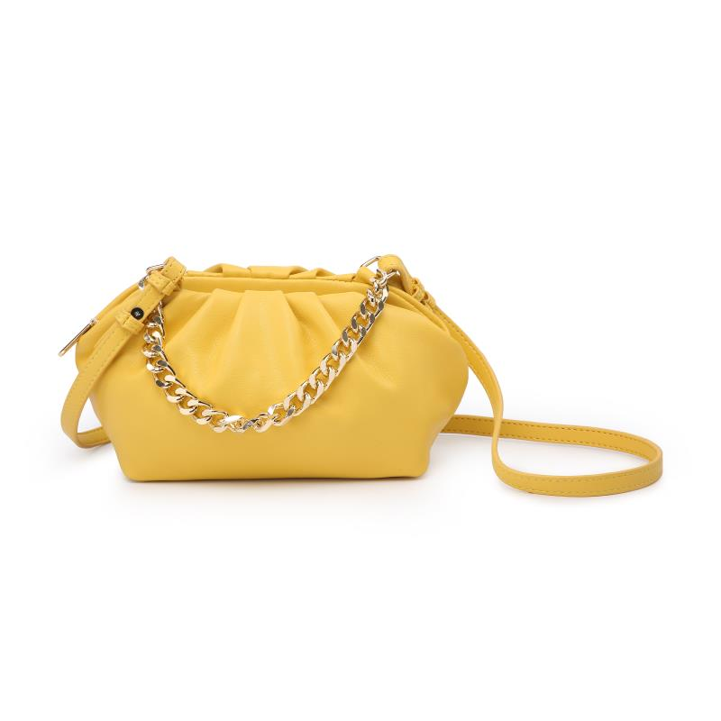 Мини дамска чанта през рамо в жълт цвят