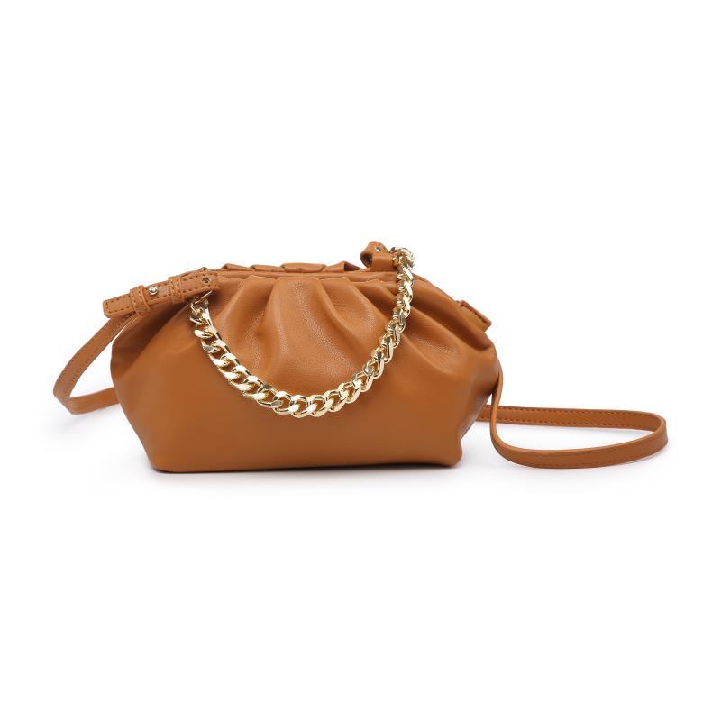 Мини дамска чанта през рамо в цвят коняк