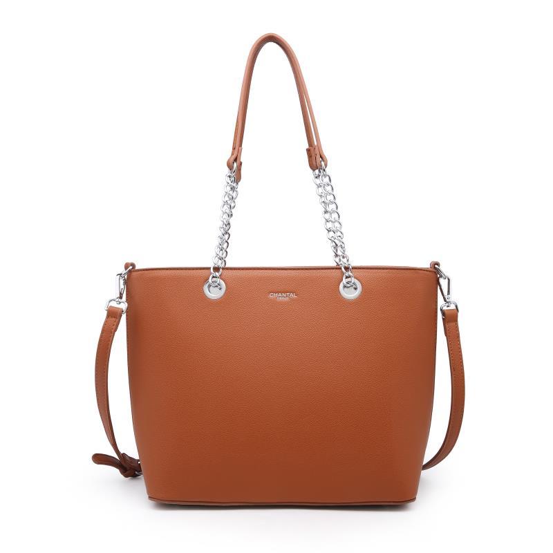 Голяма дамска чанта в цвят коняк