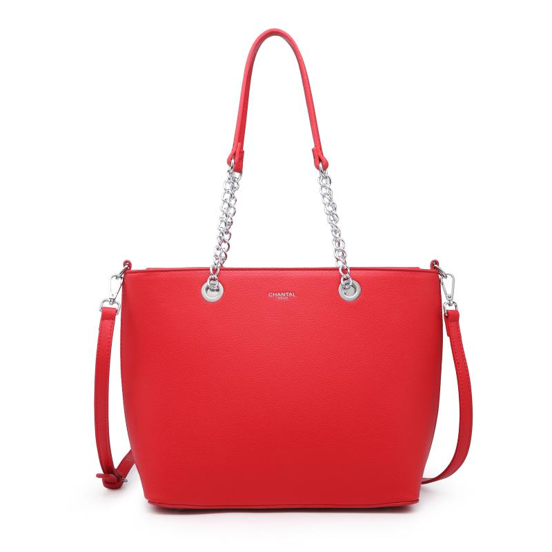 Голяма дамска чанта в червено