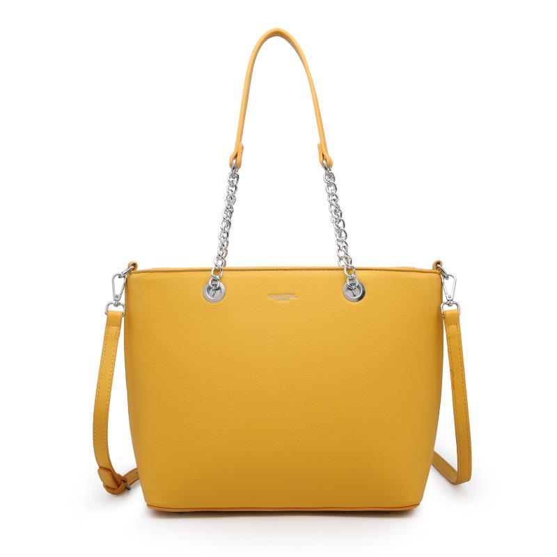 Голяма дамска чанта в жълт цвят