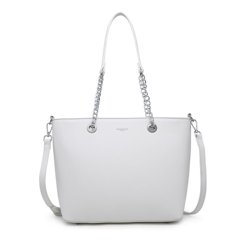 Голяма дамска чанта в бяло