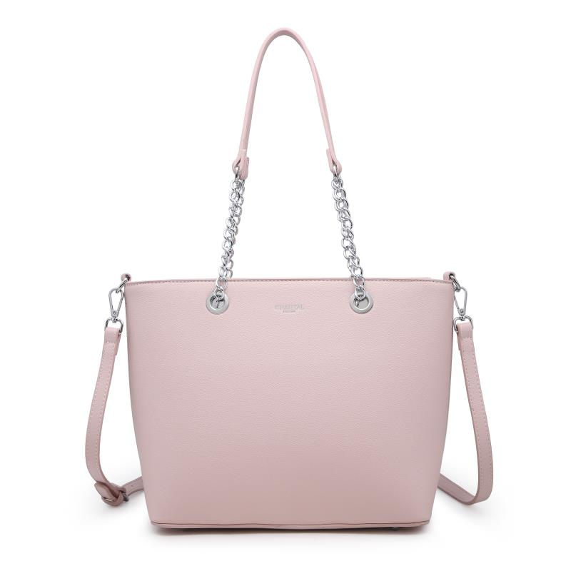 Голяма дамска чанта в цвят розова пудра
