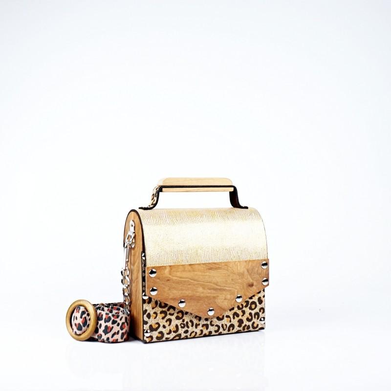 Ръчно изработена дървена чанта в леопардово и златисто