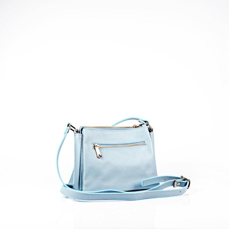 Светло синя дамска чанта от естествена кожа
