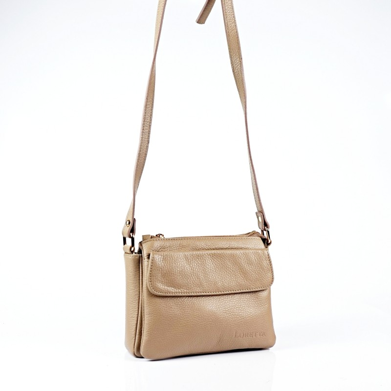 Дамска чанта от естествена кожа в цвят капучино
