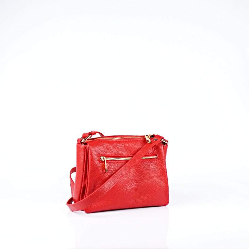 Червена дамска чанта от естествена кожа