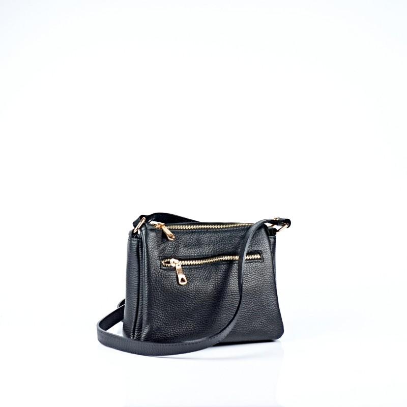 Черна дамска чанта от естествена кожа