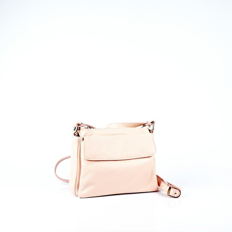 Дамска чанта от естествена кожа в цвят розова пудра