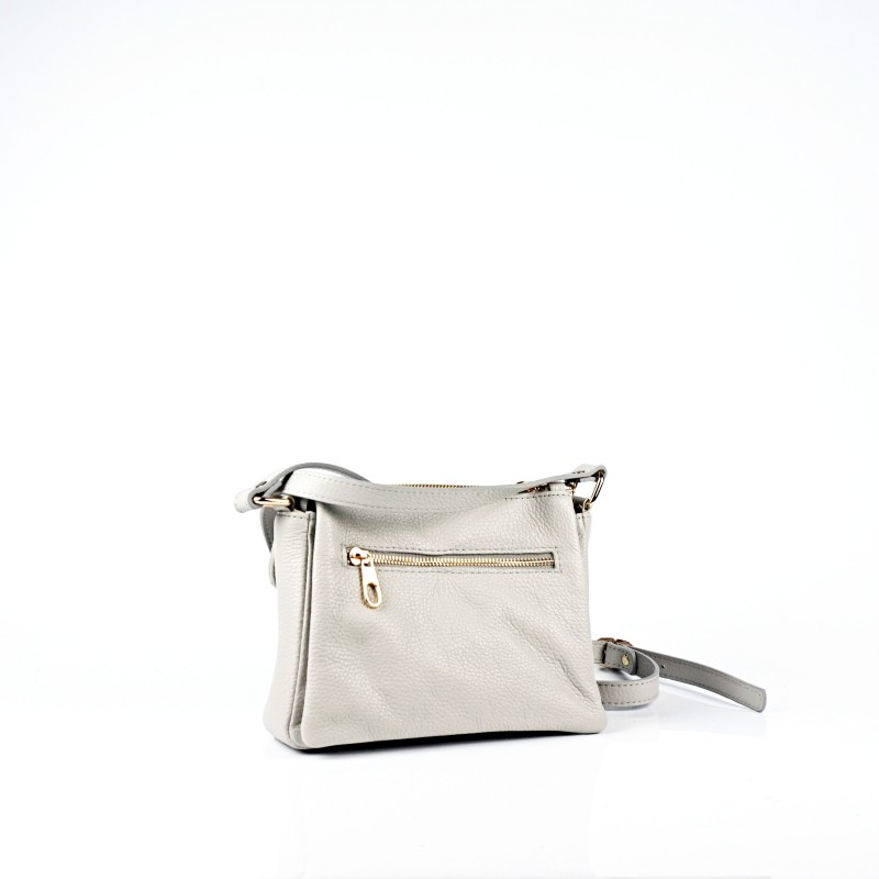 Сива дамска чанта от естествена кожа